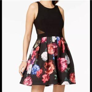 Formal Short Dress Size 8 Xscape Black Floral New